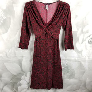 Volume One Floral Ruched Dress Back Tie Red/Black